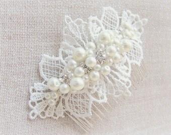 Wedding hair accessory Bridal Hair Comb Ivory Lace Fascinator Head piece Pearls Rhinestones Comb