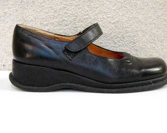 Vintage Black Mary Janes Shoes Black Genuine Leather Women's Shoes Rubber Soles Low Heels Shoes Oxford Women's  Size EUR 42 US 11 UK 9