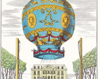 Vintage Balloon Print first hot air balloon transport Montgolfier air travel 7 x 9.25 inches
