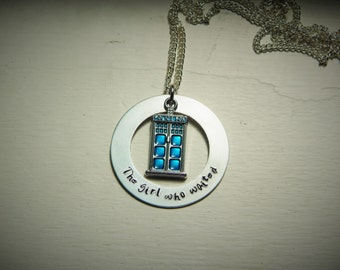 The girl who waited, hand stamped necklace