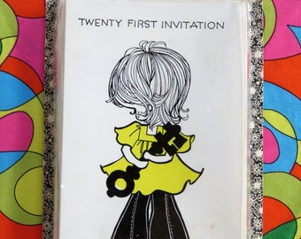 Vintage 70s party 21st invitations - so cute!  From John Sands - Valentine Norcross - 10 cards with envelopes