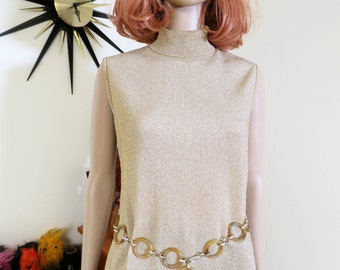 Vintage 1960s mod gold lamé top - turtle neck - groovy!