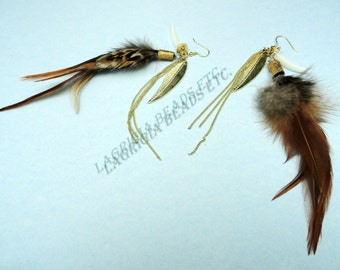 Feathers and chains Earrings with real feathers
