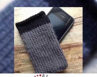 iPhone Cozy 2-tone handmade knit, grey & black