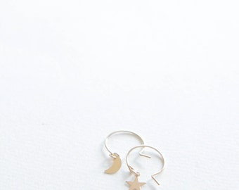 Star and Moon Earrings // 14k gold filled earrings
