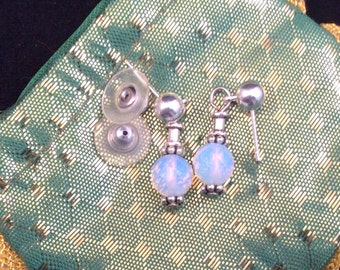 11 Small Clear or White Post Earrings.  Sterling Silver. Opalite, Mother of Pearl, Crystal, Tourmalated Quartz,  more