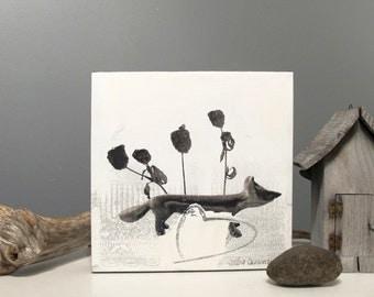 Original artwork, mixed media on canevas, Fox, 10 x 10 inches
