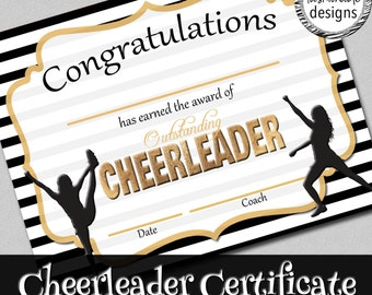 Cheerleader Certificate, Instant Download, Black & Gold, Print Yourself