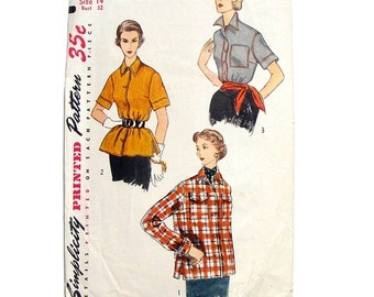 Vintage 1952 Simplicity Blouse & Overblouse Sewing Pattern #4081 - Size 14 Bust 32