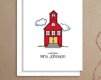 Teacher Note Cards - School House Folded Notes - Thank You Cards- Illustrated Note Cards - Personalized Note Cards