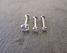 Swarovski Clear Crystal Cartilage Flat-Back Internally Threaded 18G or 16G Triple Helix 2mm 3mm 4mm