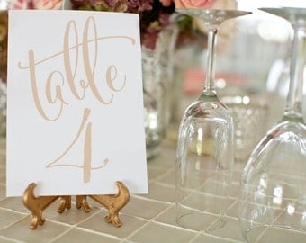 1-50 Gold Champagne Wedding Table Numbers ⋆ Printable Wedding Table Numbers ⋆ Wedding Table Decor ⋆ 4x6 Table Number Card ⋆ #KKD105