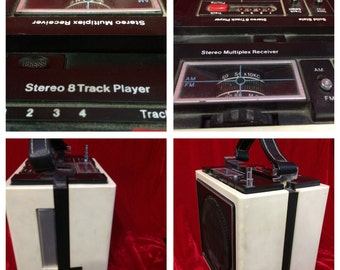 Solid State Portable Stereo 8 Track Player AM FM Radio
