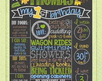 Safari Theme Birthday Chalkboard Poster | Printable Birthday Board | Boy Chalk Board | Jungle | Monkey | Animal | *DIGITAL FILE*