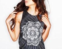 Mandala Muscle Tee Women's Clothing Tie Dye Tank Top Black Tee Coachella Tibetan Mandala Shirt Tumblr T038