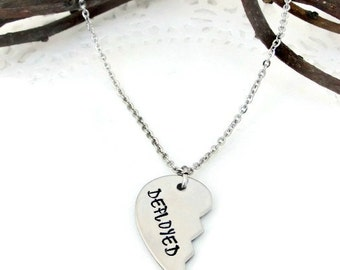 Half of my heart is DEPLOYED Necklace , Hand Stamped Jewelry , Military Wife , Girlfriend Husband Boyfriend, Soldier Spouse , Distance Gift
