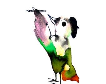 Bird art, wall art, pen and ink drawing, painter, artist, original painting, colorful art