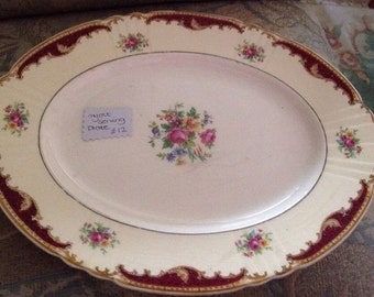"""large 12"""" myott oval serving plate rose pattern vintage"""