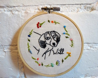 Custom pet portrait embroidery hoop wall art, Personalized Hand Stitched Hoop Art