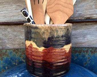 Utensil Holder/Wine Chiller - Western Hills Landscape - Wheelthrown Pottery