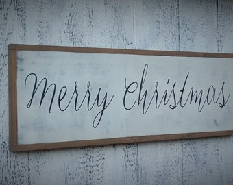 Merry Christmas Wood Sign Christmas Sign Holiday Wooden Sign Holiday Wall Art Large Christmas Sign 37 x 13