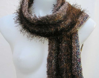 Brown scarf, upcycled scarf, brown knit scarf, reclaimed knitted scarf, upcycled striped scarf, repurposed yarn scarf, recycled yarn scarf