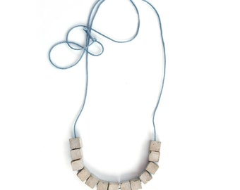 Cube Necklace for women, Geometric jewelry, Modern necklace, Urban necklace, Minimalist jewelry, Concrete necklace, Gray Strand Necklace