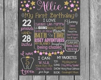 Pink & Gold Stars First Birthday Personalized Chalkboard Printalbe / Girl First Birthday / Pink Gold Glitter Birthday