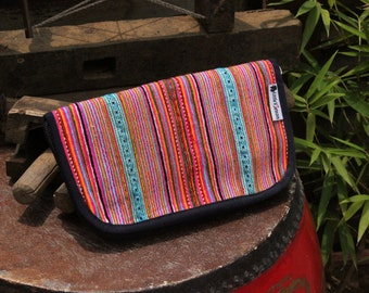 Hand Embroidered Hmong Clutch Purse Zipper Hill Tribe