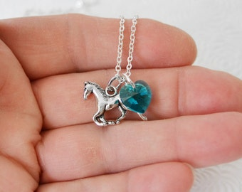 HORSE BIRTHSTONE NECKLACE, Little Girl Birthstone Necklace, Charm Necklace, Horse Lover Necklace, Girls Necklace