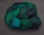 Hand-dyed top in greens. Grey Shetland wool. 4 ounces. e