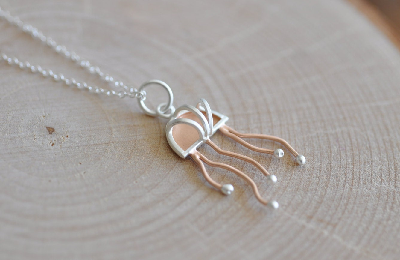 jellyfish necklace in sterling silver 925 by