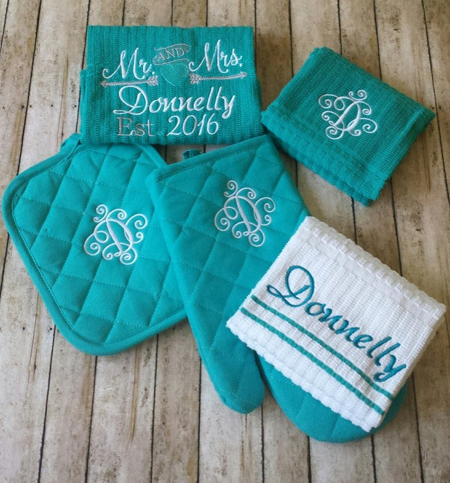 Embroidered Towels For Wedding Gift: Bridal Monogrammed Kitchen Towel Set Wedding Gift By