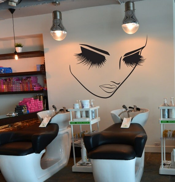 Hair salon decor decal lashes makeup wall decor lashes decal for Spa wall decor