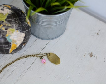Custom Necklace - Brass with Pink Bead
