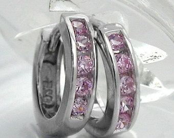 Delicate simple Hoops rhodium plated, silver 925