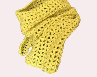 Handmade Scarf Crocheted Lime Green