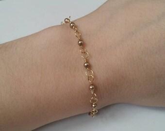 14k Goldfill Bronze Pearl Bracelet