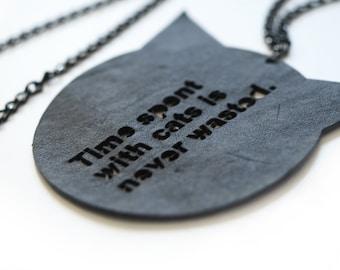 Cat Necklace, Kitty Necklace, Black Cat Pendant, Animal Necklace, Cat Jewelry, Minimalist Necklace, Inspirational Necklace, Best Friend Gift