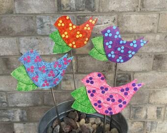 Metal Garden Art Garden Stake Bird - pick your color