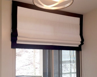 "Flat Roman Shade ""White with Black Border"" with chain mechanism, Custom Made"