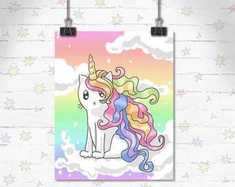 Cat Art, Unicorn Art Print, Children's Decor, Kids Room, Cute Art, Rainbow Caticorn, Rainbow Decor, Art Print, Giclee Print, Archival Print