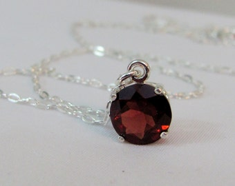 Garnet Birthstone Necklace, 8mm Garnet Pendant, 925 Sterling Silver, Natural Garnet Gemstone, January Birthstone, Garnet Jewelry, Red Garnet