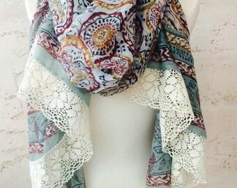 Floral scarf, bohemian scarf, fall scarf, long scarf, boho scarf, paisley print scarf, lace scarf,  flower scarf, fashionable scarf
