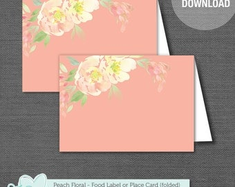 Peach Floral Place Card, Food Tent Card, Drink Card, Printable, Instant Download, Food Label, Drink Label, Flowers, Bridal, Wedding, 12F
