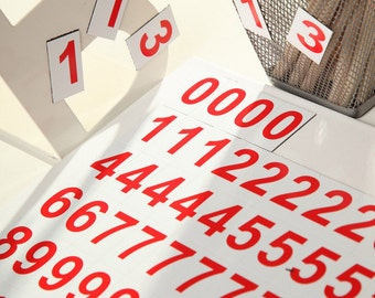 "2,5 cm/1"" Magnetic DIGITS on the Fridge, Magnets,  RED Magnetic Numbers, MagWords"