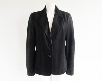 90s • Vintage • Nubuck Leather Jacket • Black Leather Jacket • Leather Blazer • Black Leather Blazer • Black Leather Blazer • Black Blazer