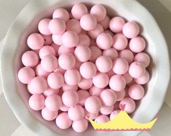 20mm Bubble Gum Pink Solid Chunky Bubblegum Beads 10 Count**New Color