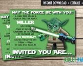 "Star Wars Yoda Invitation 5""x7"" / DIY/ EDITABLE / Instant Download"