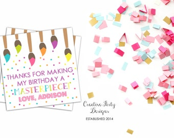 Printable Art Party Favor Tags or Labels - Art Themed Birthday - Art Birthday - Party Printables - Paint Party Favor Tags - Art Stickers